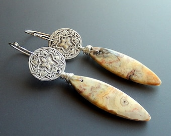 Stars and Crazy Lace Agate Fine Silver and Sterling Silver Dangle Earrings with Handmade Hammered and Forged Fancy Sterling Earwires