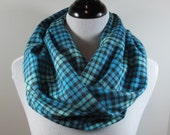 Turquoise blue, Teal n Black Tartan plaid brushed cotton flannel infinity circle scarf women winter cowl neck shawl cotton fashion gifts