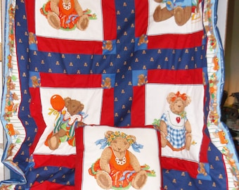 Bears In Squares Quilt and Pillow Set #504