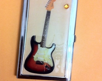 Vintage GUITAR Business Card Holder Credit Card Case