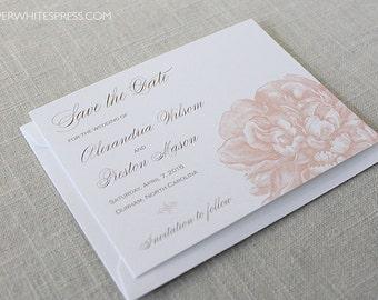Peony Save the Dates, Peony Flowers Save the Dates, Floral Save the Dates, Pink Peonies, Spring Summer Wedding, Printed Save the Dates