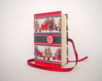 Red Green journal notebook diary red riding hood Handmade books Writing journal diary with lined paper, red riding hood in the woods print