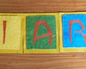 RESERVED Needle Felted Wool Felted Banner Custom Order Name Banners RESERVED
