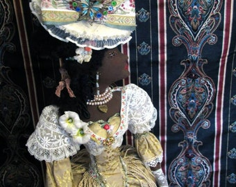 """A Zhenne Wood Original OOAK Cloth Doll/ """"Sweet Serafina Rozette"""" A Creole Lady in Elegant Day Costume/ Collectible Doll Art, Signed & Dated"""