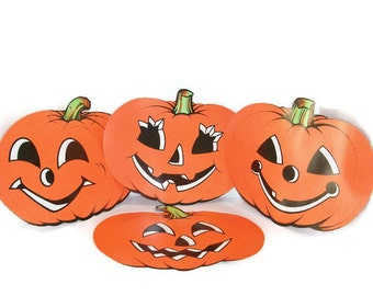Lot Of Four Cardstock Pumpkin Decorations By Beistle Co.