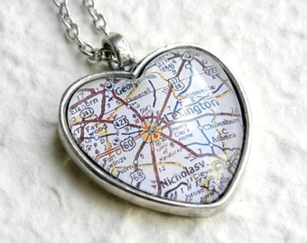 Lexington Map Necklace - Choose your favorite map from  25 map choices - Featuring University of Kentucky, Louisville, Winchester, and more