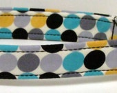 Grey/Yellow/Teal/Black polka dots Print Handmade Dog Collar