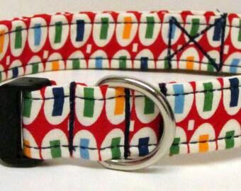 Red/Green/Navy/Yellow Print Handmade Dog Collar