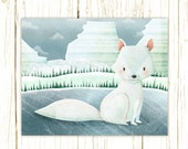 arctic fox art print -- Arctic Friends Arctic Fox --  fox artwork, nursery, kids art, childrens room art, polar, winter, ice