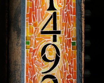 Vertical 4 Digit House Number on 6x15 inch slate