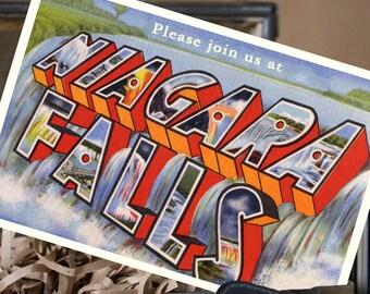 Vintage Large Letter Postcard Save the Date (Niagara Falls) - Design Fee