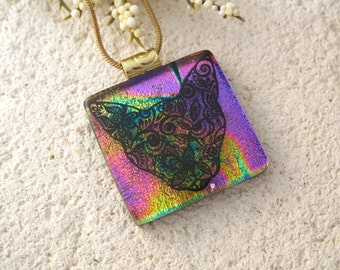 Cat Sugar Skull Necklace, Day of Dead Jewelry, Skeleton Muerte, Dichroic Glass Jewelry, Fused Glass Jewelry, Dichroic Necklace 020215p111