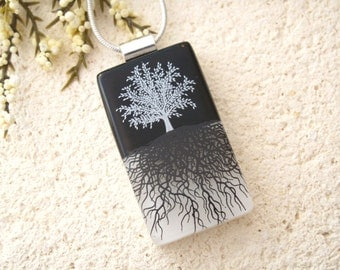 Tree Necklace, Fused Glass Jewelry, Rooted Tree, Tree of Life Jewelry, Fused Glass Pendant,Tree Necklace, Black White Necklace, 111116120tbm
