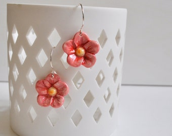 Pink Porcelain Posies- Porcelain Flower Earrings in Pink and Red