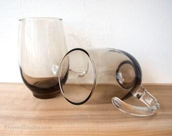Libbey Tempo mugs set of 10 smokey brown glass 70s