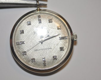 1960s Bulova Watch Solid 14kt White Gold and Diamonds, 30 Jewel Automatic Shock Resistent