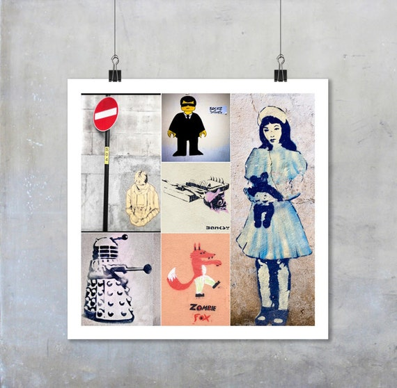 Street Art Montage - square photographs stencil graffiti bansky doctor dr who dalek wall wall art decor 22x22 15x15 18x18 12x12