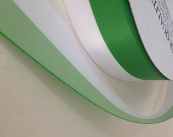 """Green and white Satin Ribbon (single faced) 2"""" wide - 3 yards"""
