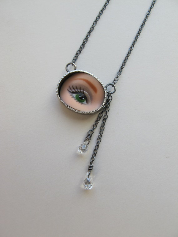 Barbie Doll Eye Necklace with gemstone teardrops