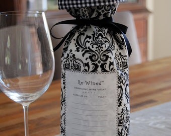 Re-Wined Traveling Wine Wrap, Wine Bag, Fabric Tote - Style B