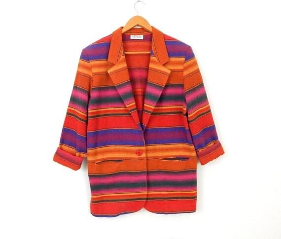 Vintage 80s 90s Southwest Striped Flannel Oversize Blazer - Women's Long Bright Colorful Tribal Blanket Jacket - Size Large