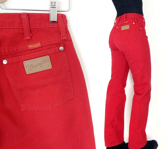 Vintage 80s High Waisted Wrangler Red Jeans Size 9 / 10
