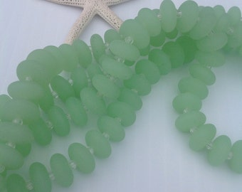 Sea glass,supplies,14 pcs strand,4in strand.seaglass bead,beach glass,rondelle,spacer glass bead,drilled,frosted,beach stuff
