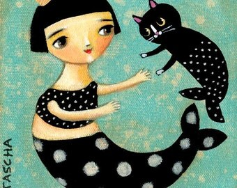 Mermaid and Mercat PRINT of folk art painting black cat folk art mermaids by tascha