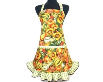 Retro kitchen apron , Pumpkins, Sunflowers and Gourds , Adjustable with Ruffle , Autumn decor