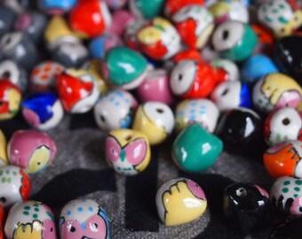 WHOLESALE 10pcs Handpainted Porcelain Ceramic OWL Beads