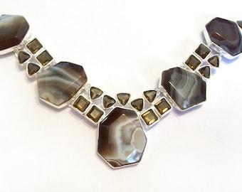 Sale: Botswana Agate Silver Necklace with Smoky Quartz