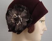 1920 Style Cloche Hat In Merlot Wine