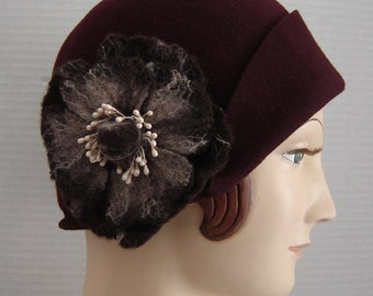 1920 Style Cloche Hat In Merlot Wine