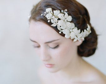 Bridal hair comb, headpiece, wedding combs - Beaded petal comb pair - Style 562 - Ready to Ship