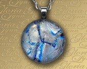 Silver Streak- Dichroic Fused Glass Pendant, Fused Dichroic Jewelry - O159