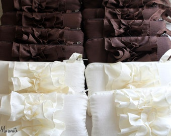 SET OF 11 Ruffle Wedding Clutch- Autumn Bridesmaids Clutch- Brown Black Purple Blue and More
