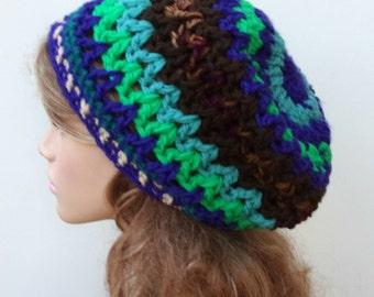 Thick Slouchy beanie BoHo Chunky Hippie Hat bohemian purple multi
