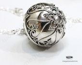 18mm Filigree Heart Bola Harmony Ball Pendant Bali 925 Sterling Silver P78