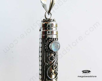 Rainbow Moonstone Bali Tube Pendant Treasury Keeper Container Wish Locket- Sterling Silver P25