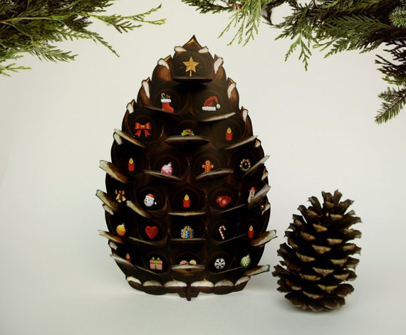 Pine Cone Advent Calendar. Winter holiday decoration. Forest pop up paper keepsake or gift to countdown Christmas and holiday cheer!