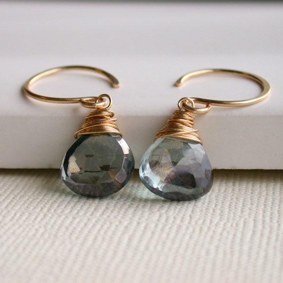 Mystic Blue Wrapped Drops. Wire wrapped Earrings. Dangle Earring. Drop Earring. Artisan. Jewelry.