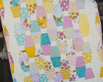 Handmade Baby Quilt, Crib Quilt or Lap Quilt, in yellow, turquoise, blue and violet