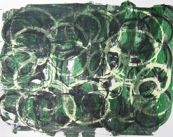 "GRASSY PATCH  contemporary painting abstract art on paper 12"" x18"" green and white"