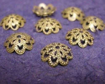 24pc antique bronze filigree bead cap/connecor-1306