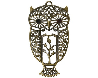 8pc 7.5X4.1cm antique bronze filigree owl pendants-8420A