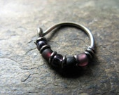 hawkeye hoop-- superhero nose ring or hoop earring-- handmade by thebeadedlily