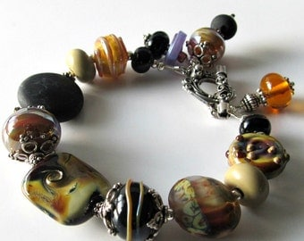 Lampwork and Sterling Silver Bracelet, Black and Caramel, Iridescent Beads, Artisan Jewelry, Beaded Jewelry, Beaded Bracelet, OOAK