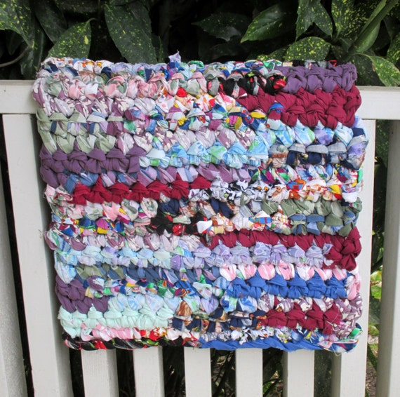 Recycled Thick Rag Rug Bath Mat Colorful Scrap Upcycle Bold