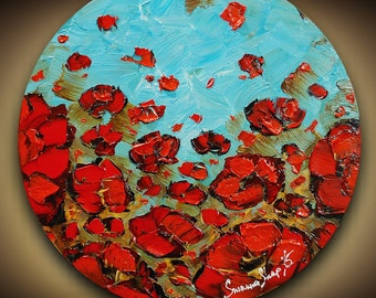 Original Red Poppy Impasto Landscape Oil Painting Abstract Wall Art Home Decor Modern Palette Knife Impressionist Art 20x20 by Susanna