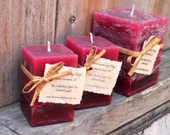 SALE: Set of Sip-o-Barbara Spice Tea Scented Square Pillar Candles